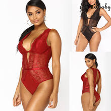 Fashion Sexy Casual Women Ladies Sleepwear Lace Skinny Bodysuit Playsuit Party Romper Jumpsuit Red Black(China)