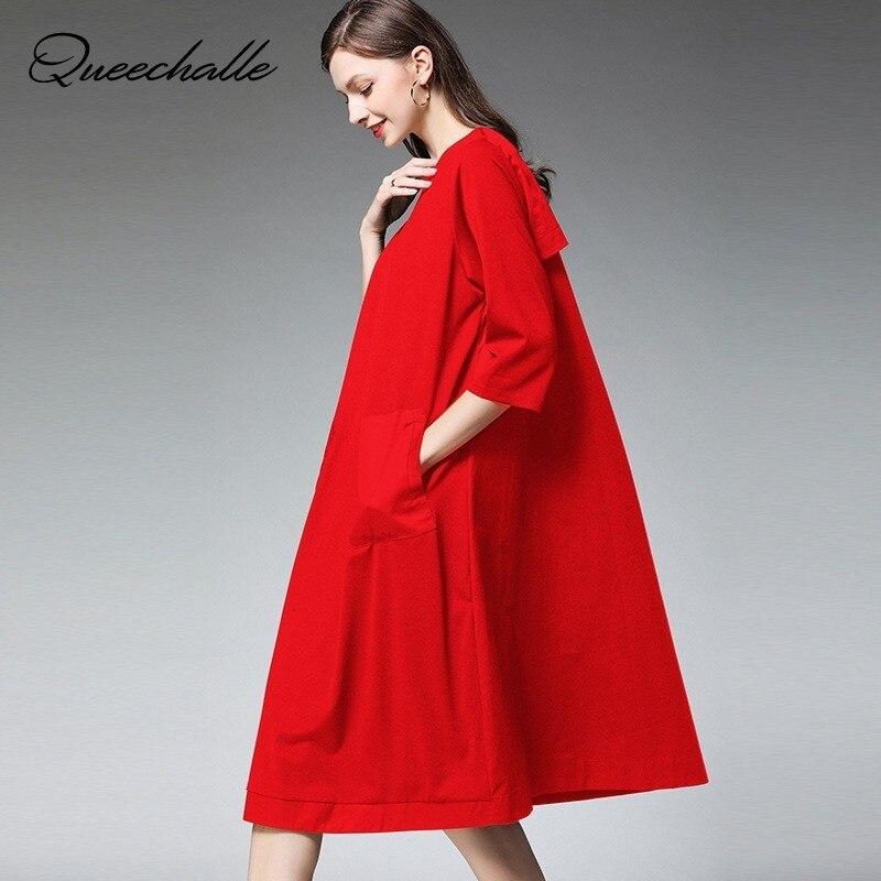 Rouge noir printemps robe femmes trois quarts manches robe trapèze en vrac avec poches solide décontracté grande taille robe Midi femme