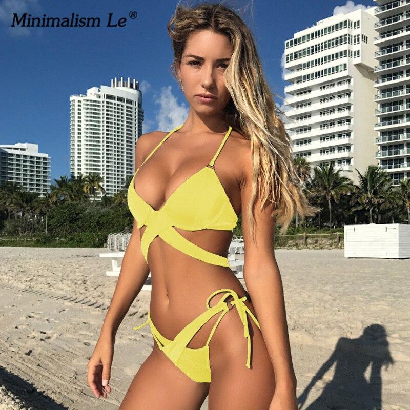 2020 Sexy Solid Swimwear Women Bikini Set Swimsuit Halter Top Bikinis Bathing Beachwear Bandage Biquini Mujer Plus Size 1