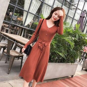 New Autumn Women Long dress Knitting Full Sleeve Slim Season Render Dresses Black Caramel Color 6895 knitting