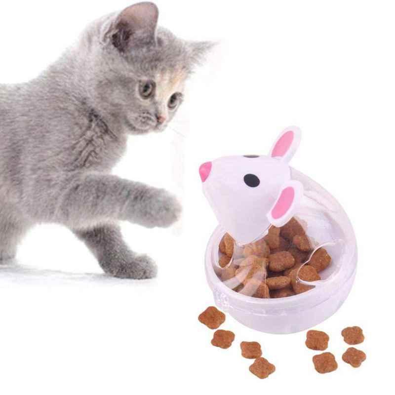 ペット IQ 治療ボール、タンブラーインタラクティブ食品調剤フィーダー、遅い咀嚼ボール猫犬-おかしいマウスデザイン