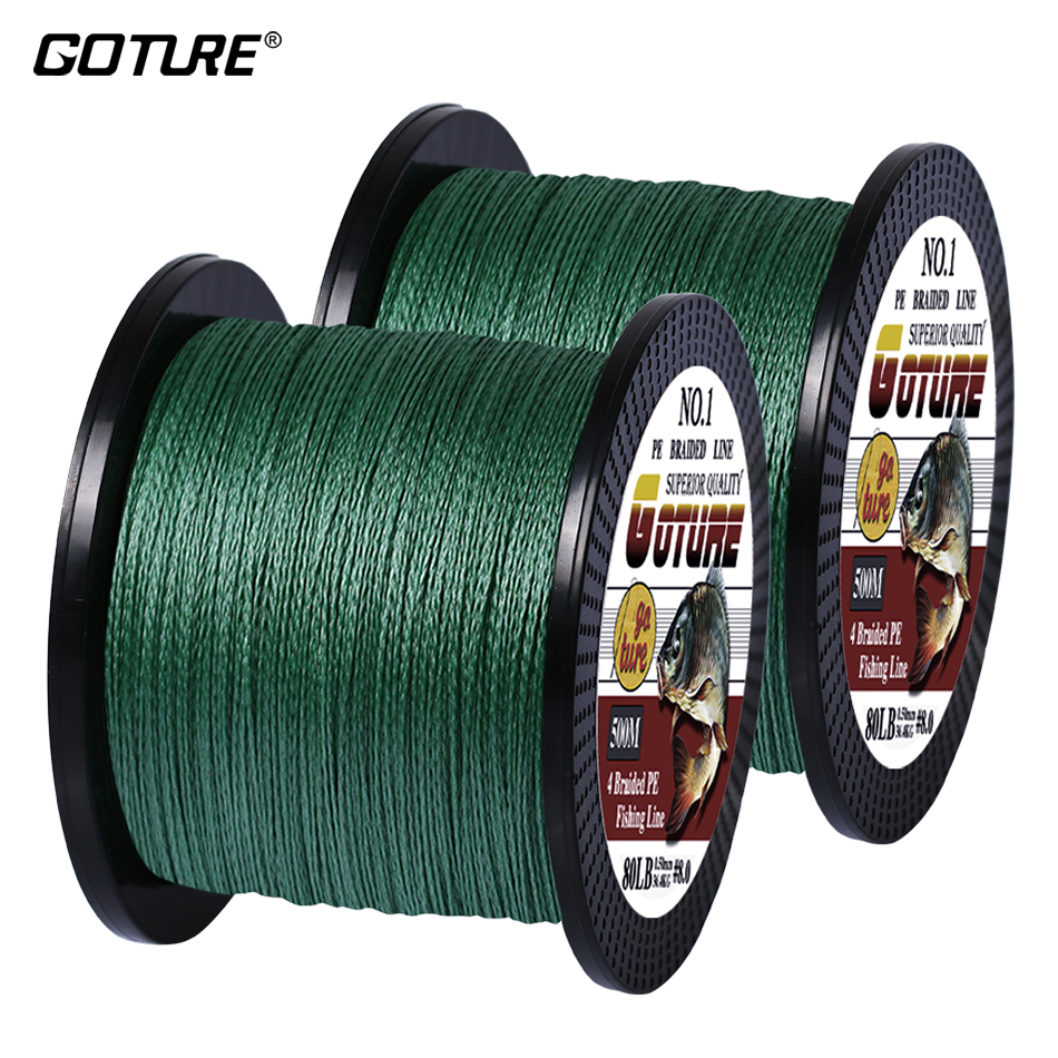 (Total 1000M) Goture 2pcs 500M PE Braided Fishing Line Multifilament 4 Strands Fishing Cord Carp Fishing Lines 12-80LB 6 Colors