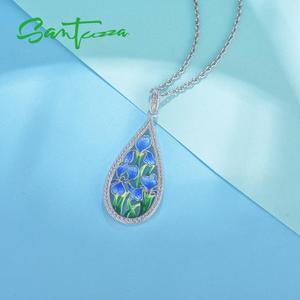 Image 5 - SANTUZZA الفضة زهرة قلادة للنساء 925 فضة اليدوية المينا الأزرق البتلة قلادة صالح لل قلادة الأزياء والمجوهرات