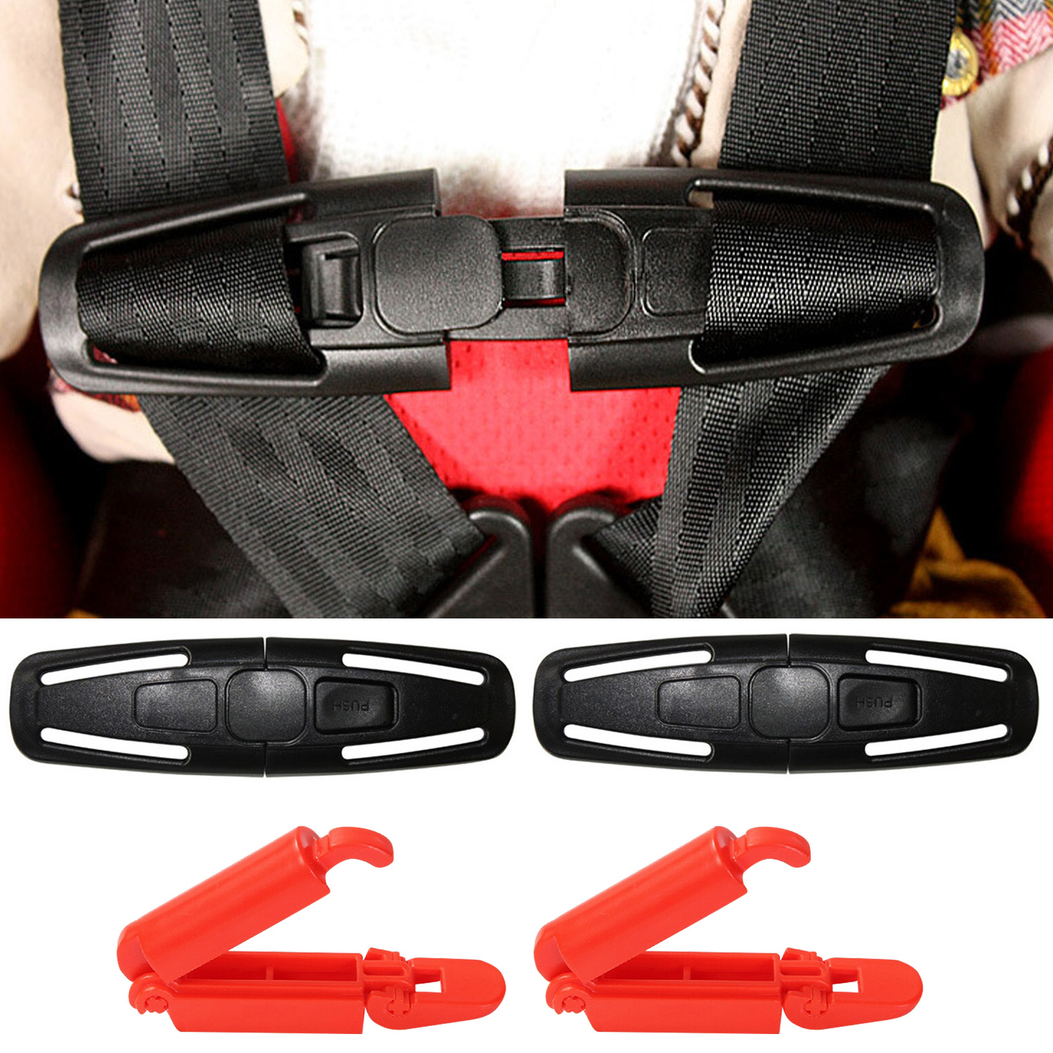 2PCS Chest Harness Clips With 2PCS Car Seat Belt Strap Clip Buckles Baby Kids Car Safety Seat Accessories
