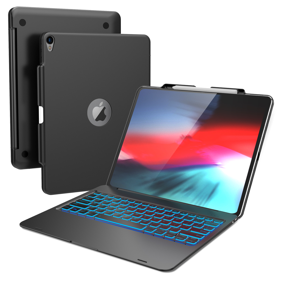 Para o iPad 12.9 Pro 2018 Caso Laptop Projeto 7 Cores Backlight EUA Tampa Do Teclado Bluetooth Para iPad 12.9 Pro Polegada 2018 Caso Estande