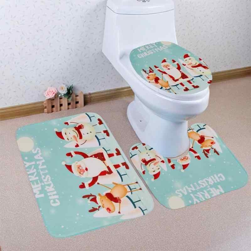 3 piezas alfombras de baño Navidad impreso Anti-Slip de baño cubierta de asiento del inodoro lavable alfombras de baño de piso de baño cubierta de asiento