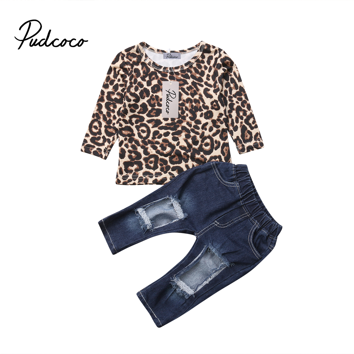 2pcs Kids Baby Girl Outfits Leopard Tops+Destroyed Jeans Pants Clothes