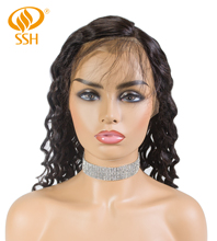 SSH Brazilian Remy Loose Wave Human Hair Wigs 360 Lace Frontal Wig With Baby Natural Hairline