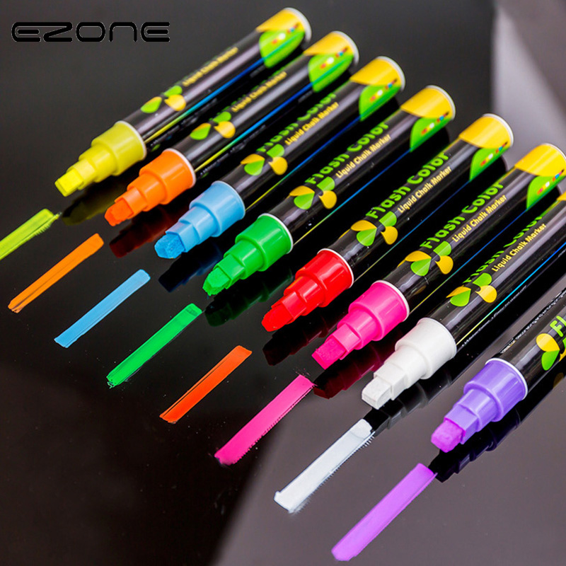 EZONE Candy Color Highlighter Fluorescent Pen Liquid Chalk Marker  Pen For LED Writing Board For Painting Graffiti Office Supply