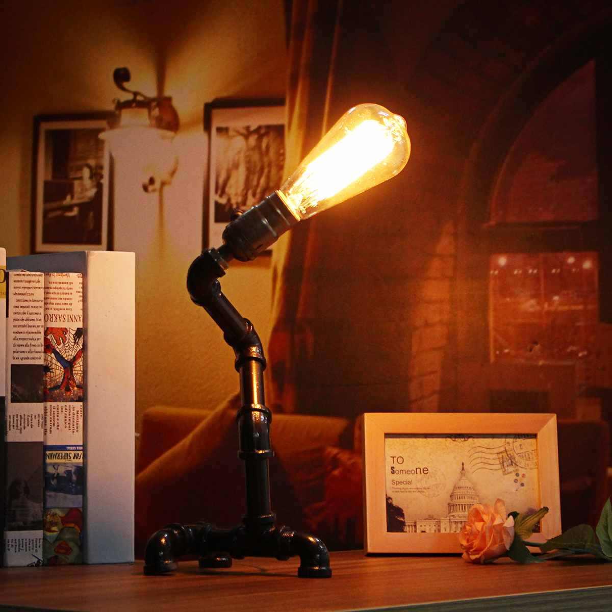 Винтаж Промышленные Ретро стиль стальная труба стол ночное освещение светодио дный настольные лампы спальня офис исследование Чтение Книга Новинка свет