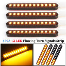 4pcs LED Turn Signal Strip Motorcycle Sequential Flowing 12LED Tail Brake Lights Durable Water Flow