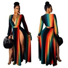 Summer Women Fashion Boho Long Maxi Dress Girl Striped Beach Dresses Colorful Rainbow Splits Vestido