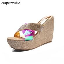 Summer Wedge Slippers bling gold Sandals High Heels Women Slipper Ladies Outside Shoes Wedge Slipper Flip Flop Sandals YMA781 все цены