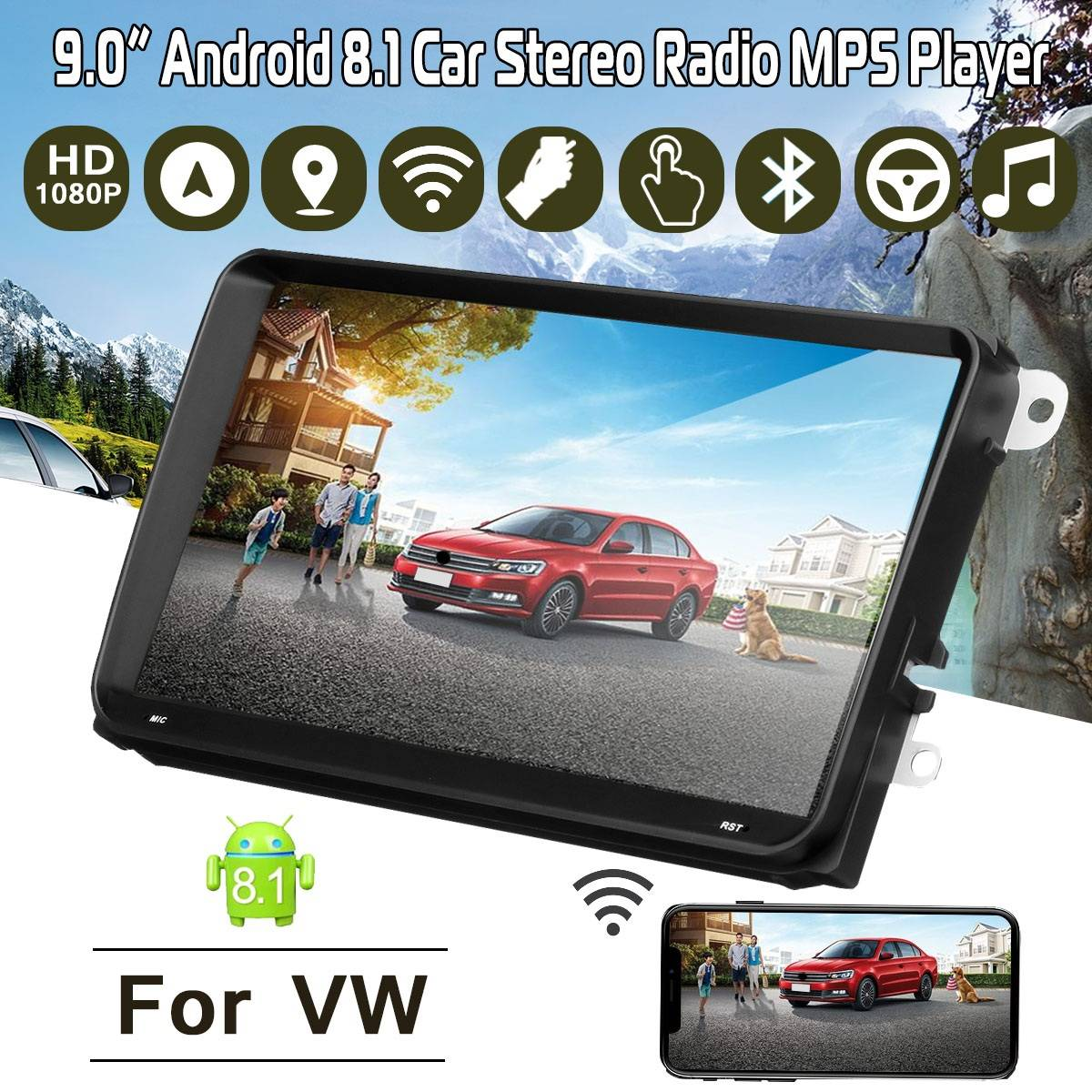 9inch Car DVD GPS android 8.1 Player 2 din radio New universal GPS Navigation Multimedia For VW navigators automobile