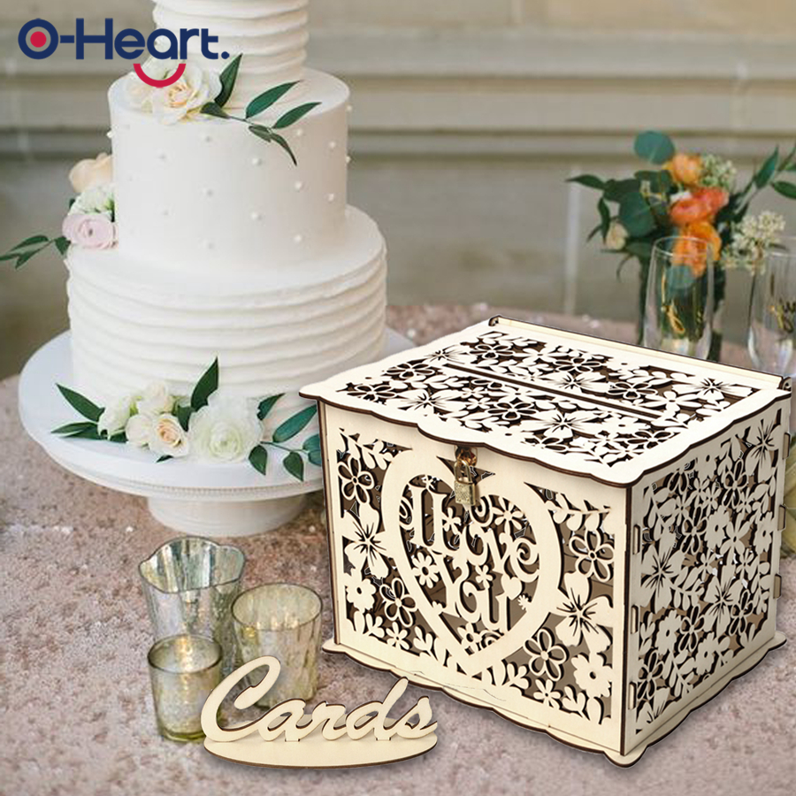 Us 1089 40 Offoheart Wedding Card Box With Lock Baby Shower Decor Wooden Gift Boxes Diy Rustic Money Box Graduation Birthday Evening Party In