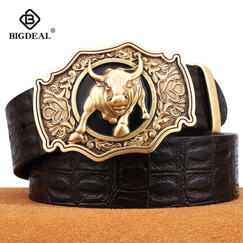 2019 bigdeal luxury new fashion designer men belt high quality genuine leather of cowskin for trousers copper