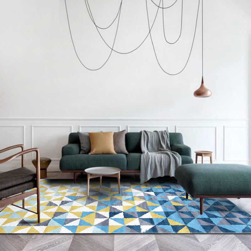 Fashion Nordic geometric carpet yellow blue rugs livingroom bedroom hallway  kids room carpet bathroom tapetes customized