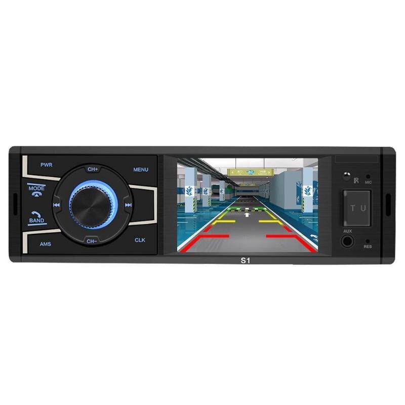 Autoradio 3.2 pouce 1 Din Autoradio écran Bluetooth voiture stéréo unité de tête FM Radio USB AUX avec vue arrière caméra télécommande