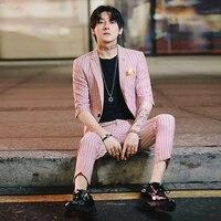 2 Piece Suit Party Dress Abito Uomo Cerimonia Coreano Mens Prom Suit 2019 Mens Slim Fit Prom Tuxedos Mens Pinstripe Suits Roses