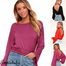 Womens Long Sleeve Casual V Neck Tops Summer Loose Solid Tee T Shirt US