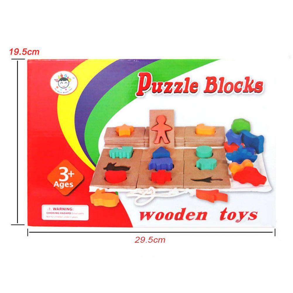 Analytisch Baby Dier Vormige Houten Puzzel Blokken Jigsaw Vorm Matching Game Educatief Speelgoed Matige Prijs