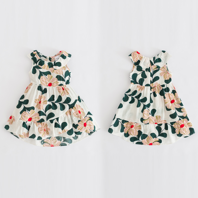 2 - 8 yrs baby girls Irregular ruffle printed sleeveless beach dress summer print cotton kids clothes little girls kawaii frocks 2