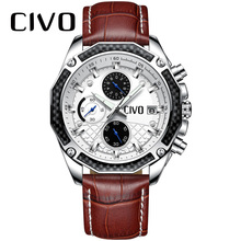 CIVO Casual Mens Watches Genuine Leather Wrist Watch Waterproof Chronograph Calendar Male Clock Analogue Business Quartz Watch brand mstre men s casual business watch male japan quartz wrist watches moon phase genuine leather strap sapphire dual calendar