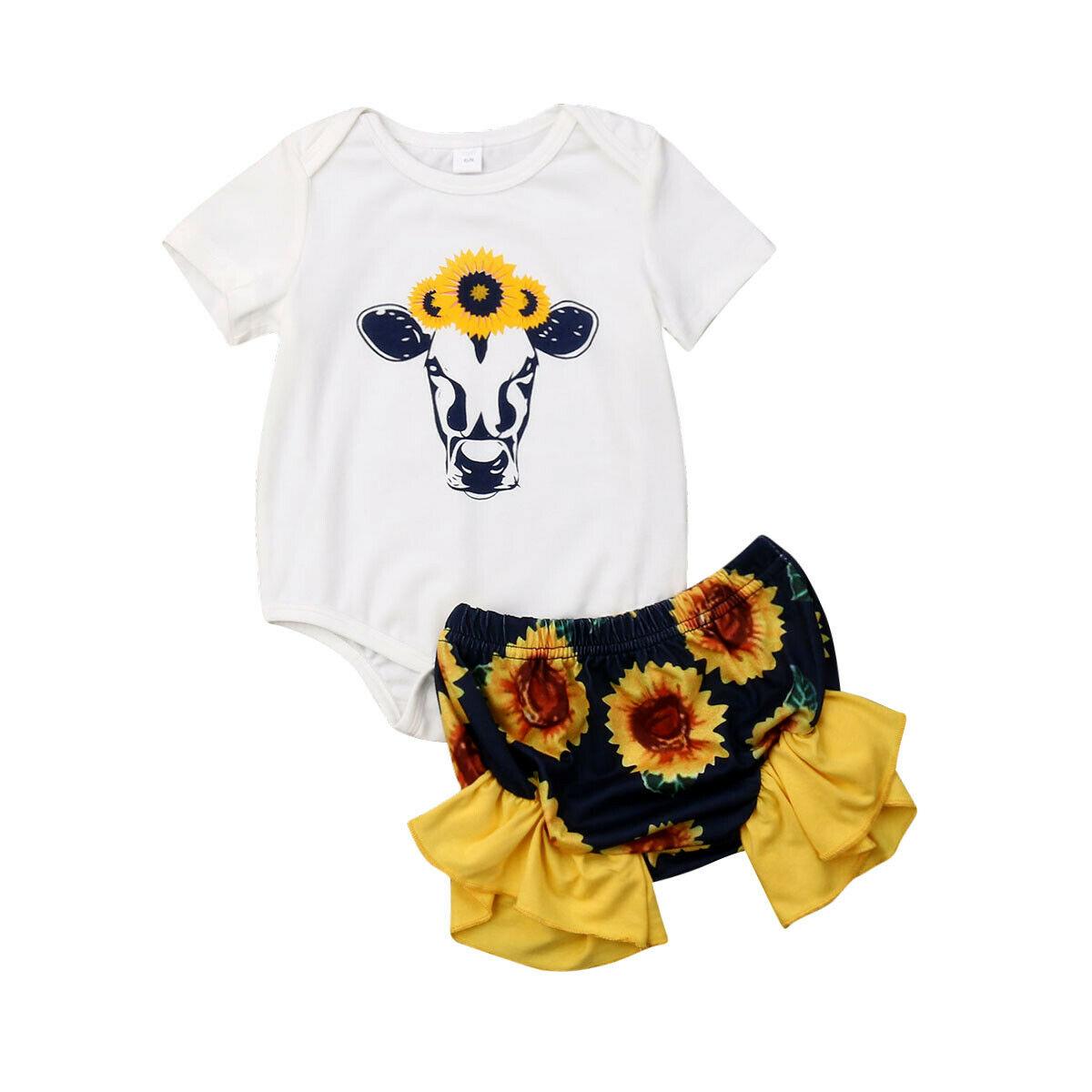 0-24 M Leuke Pasgeboren Baby Meisje Korte Mouw Herten Romper Tops Zonnebloem Shorts Bloeiers 2 Stuks Outfits Zomer Kleding Set