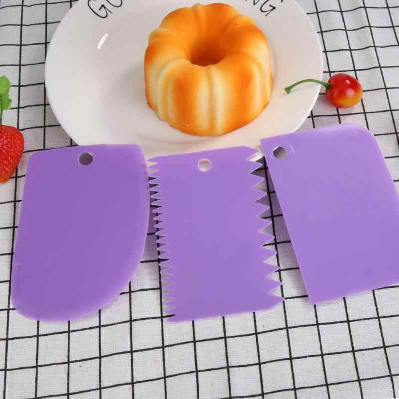 3 ชิ้น/เซ็ตคุณภาพสูงเบเกอรี่เครื่องมือที่มีสีสันไม่สม่ำเสมอฟันขอบ DIY ครีมขูดเค้กแม่พิมพ์เครื่องมือเรียบแป้ง Pastry