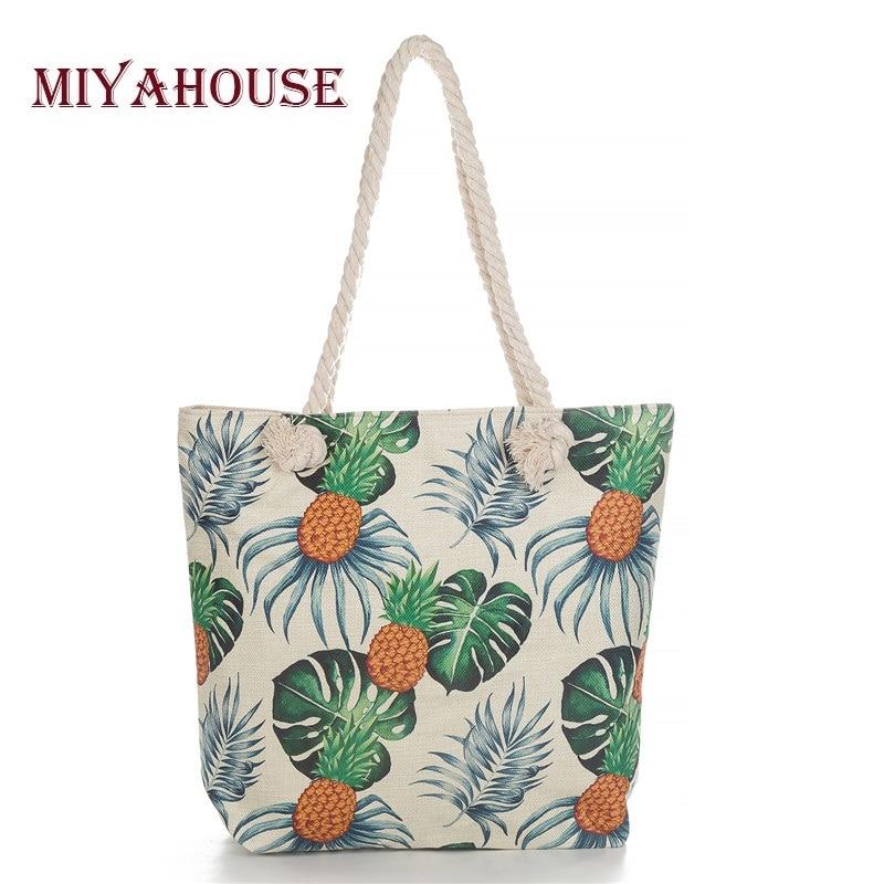 Miyahouse pineapple Print Women Handbag Casual Wild Canvas Beach Bag Sailor Rope Design Large Capacity Shopping Bag Female