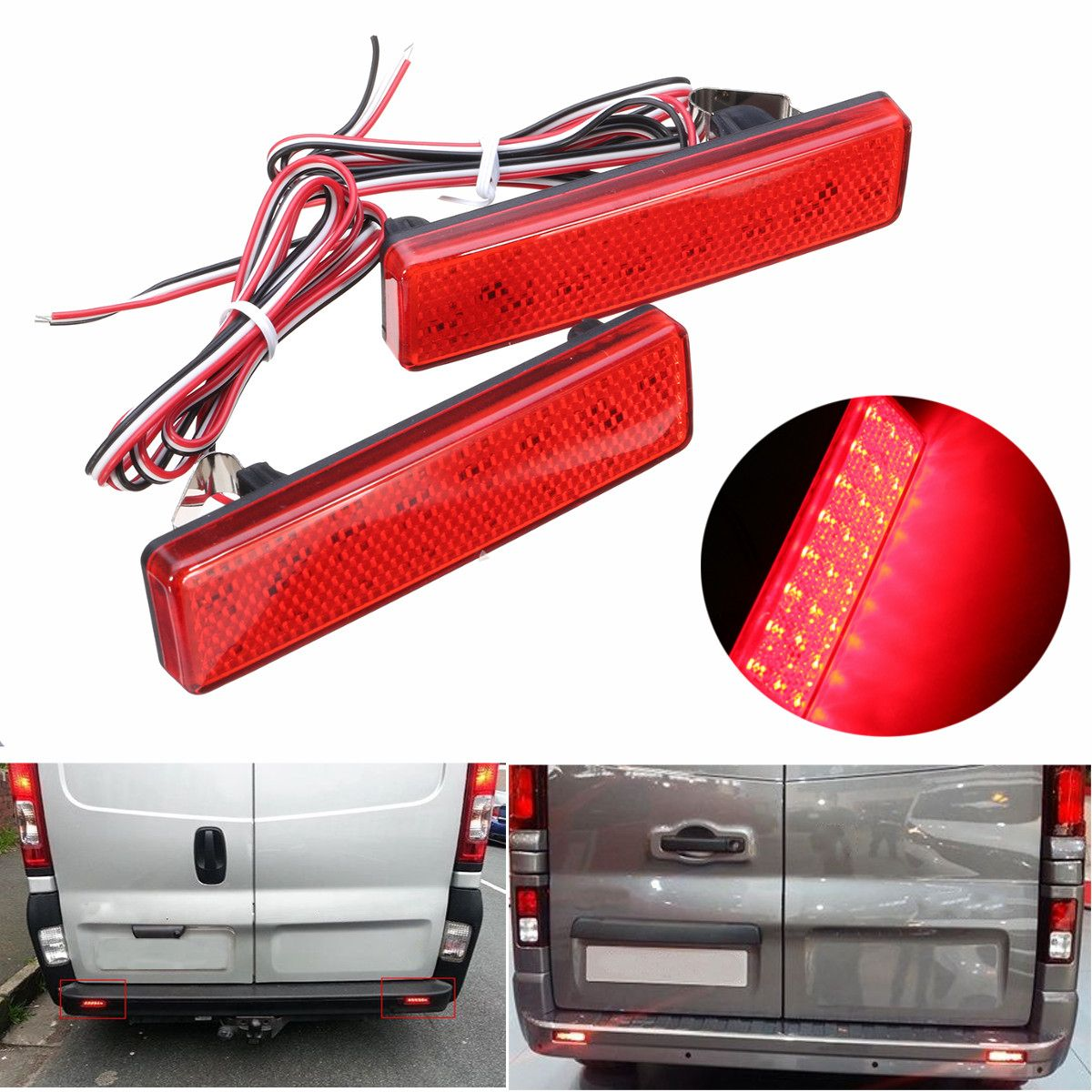 Pair Red LED Rear Brake Stop Light Bumper Reflector LED Tail Stop Light For Vauxhall For Opel For Renault For Nissan