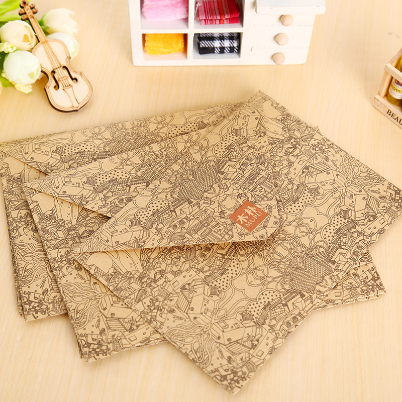 10 Pcs/lot Vintage Kraft Envelope Postcards Greeting Card Cover Brown Kraft Envelopes Stationery Zakka School Supplies