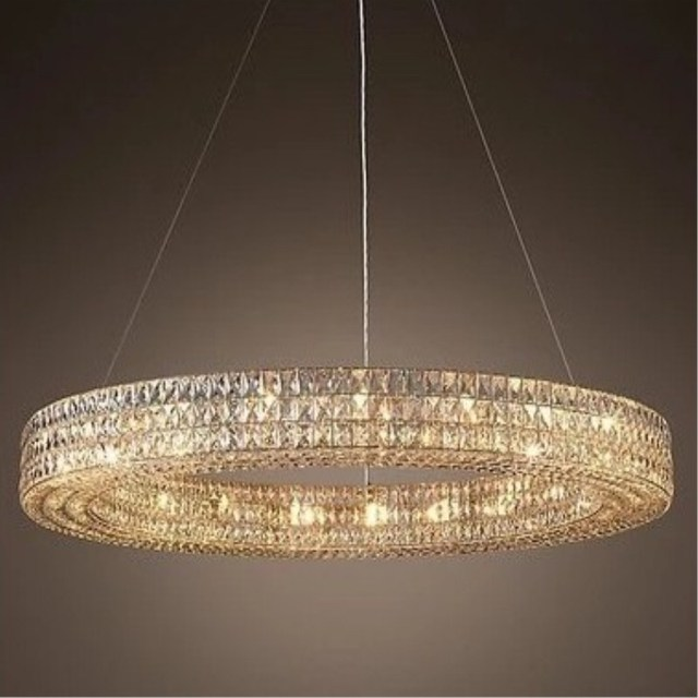 Modern Round crystal lighting led ring pendant lights for sitting room Led suspended Luminaire for Villa Living Room Dining Room