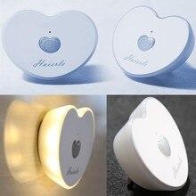 Love Heart Rechargeable PIR Motion Sensor LED Night Light For Kitchen Closet Wardrobe Toilet Stair Hallway Kid Bedroom Wall Lamp все цены