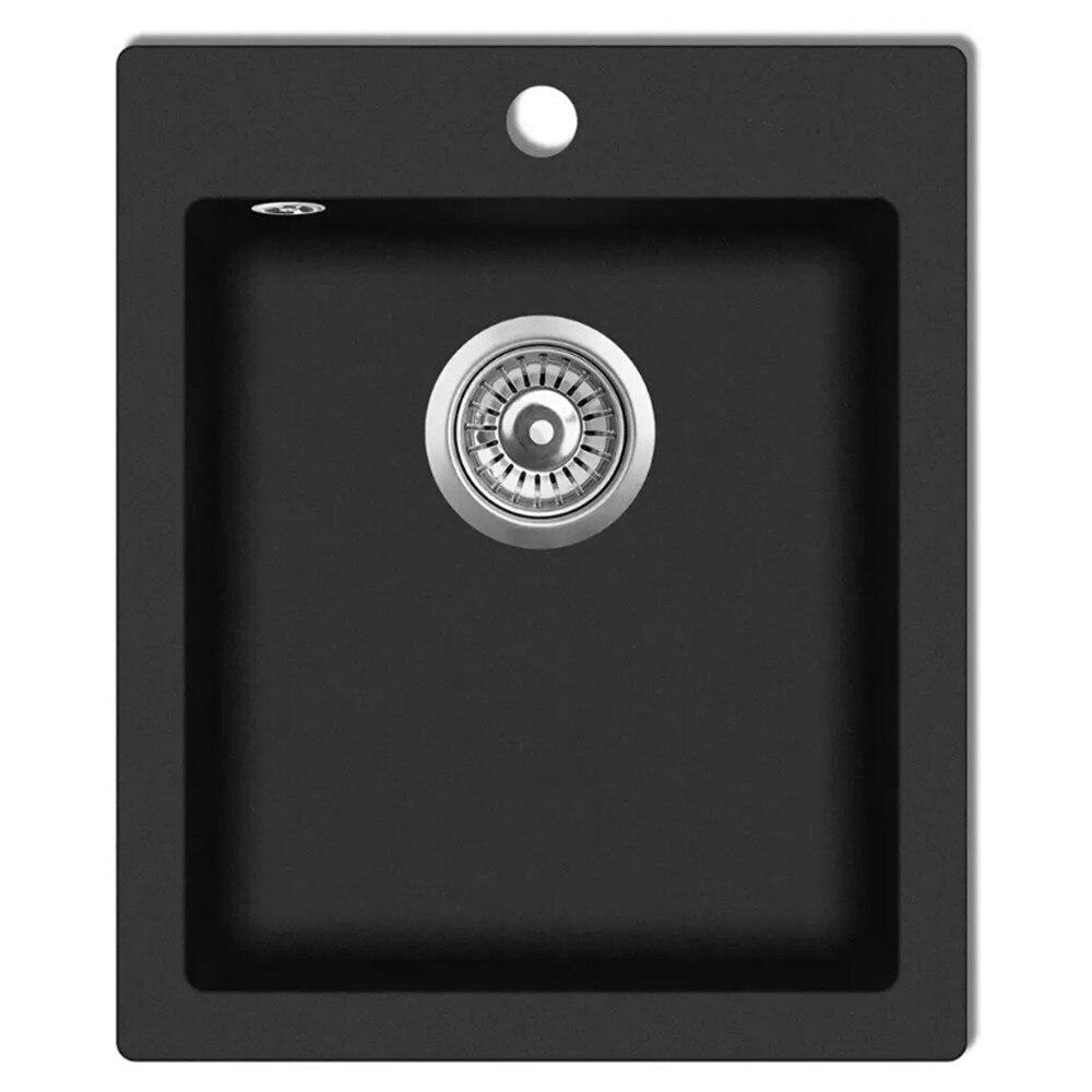 vidaXL Overmount Kitchen Sink Single Basin Granite Black 141672vidaXL Overmount Kitchen Sink Single Basin Granite Black 141672