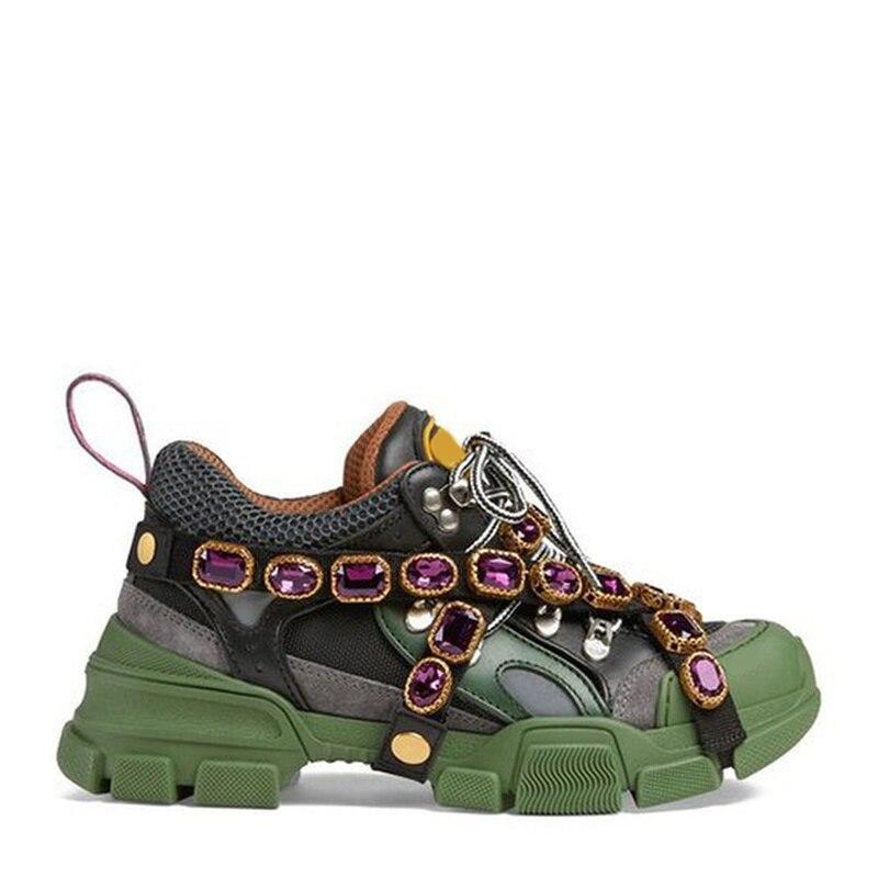 Automne blanc Ins Super feu chaussures pour femmes cristal métal décoratif diamant mode plate-forme baskets luxe femmes chaussures