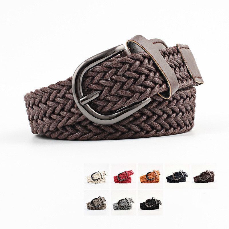 103cm Korean Fashion Casual Stretch Woven   Belt   Women's Unisex Canvas Elastic   Belts   For Women Jeans Elastique Modeling   Belt