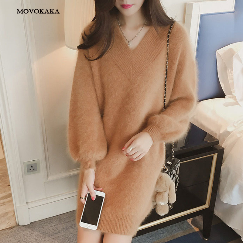 New Velvet Autumn Winter Women Sweater Female Korean Long Cute Fashion Knitted Sweater Women V Neck Pullover Loose Knitted Dress