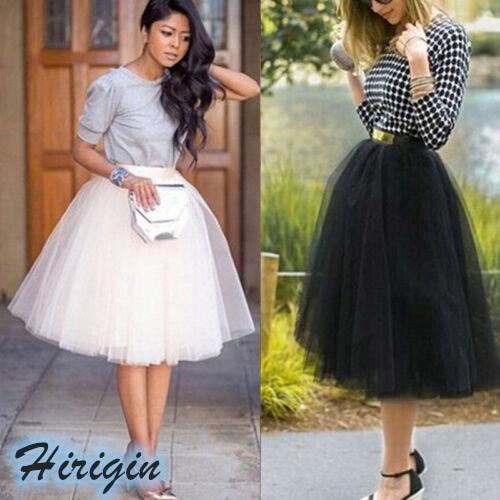 Summer Skirts HOT Summer Womens Casual Elastic High Waist Tutu Tulle Skirts Elegant Ladies Tulle Skirts