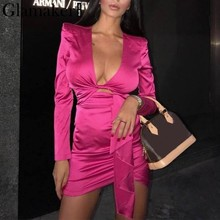Try Everything Mini Winter Party Dress Women 2019 Red Fashion Sexy Nightclub For Ladies Dresses Long Sleeve