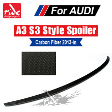 цена на A3 Rear trunk spoiler wing S3 style Highkick True Carbon fiber Fits For Audi A3 S3 Sedan wing Rear Trunk Spoiler Lip 2013-2018