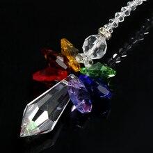 1Pc Rainbow Angel Suncatcher Crystal Guardian Chakra Sun Catchers Rear View Mirror for Home Decor