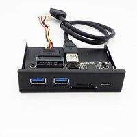 33S50-RTK 3 In 1 Card Reader Media Tipe-C Usb 3.0 Hub Port Dashboard PC Panel Depan dengan USB Power Kabel