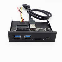 33S50-RTK 3 in 1 Card Reader USB 3.0 Front Panel Media Type-C Dual USB 3.0 Port Hub Dashboard PC Front Panel with Power Cable