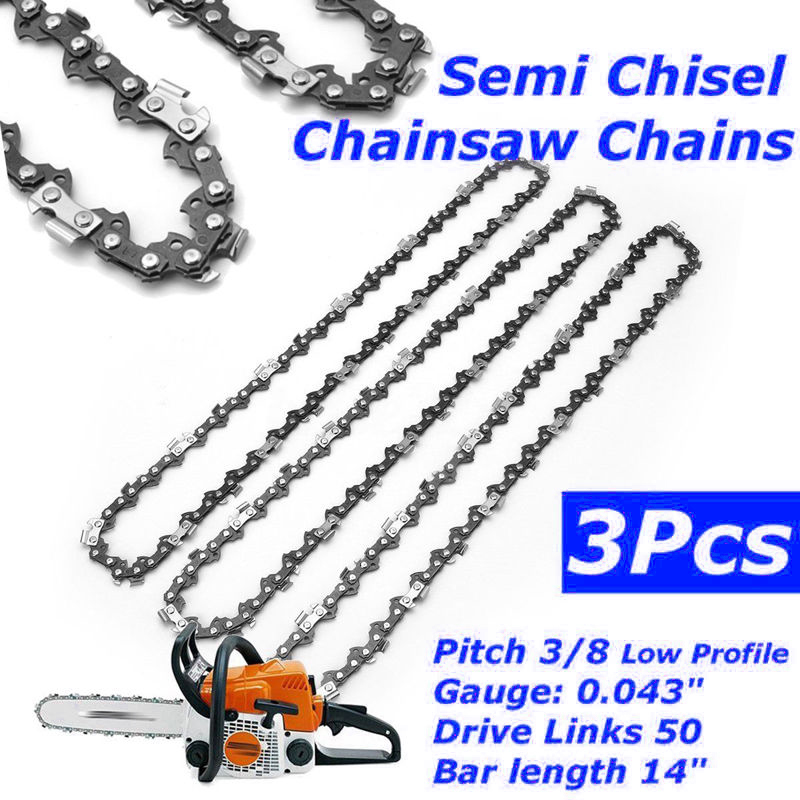 """Image 2 - 3pcs Semi Chisel Chains 3/8"""" 0.043"""" 50DL 14"""" Bar for Stihl Chainsaw MS170 MS171-in Tool Parts from Tools"""