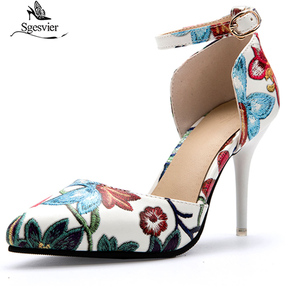 Sgesvier New arrival summer Shoes woman high heels Ladies Embroidery pumps Platform Slip On shoes PU leather party shoes G471
