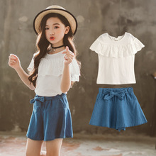 2019 Summer New High Quality Girls Clothing Fashion Jeans Skirt Suit  Kids Girls Comfortable Clothes Cute Children's Clothes