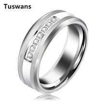 8mm Gümüş Renk Tungsten Yüzük Erkekler Kadınlar Için Düğün Bantları Parlayan 7 Beyaz AAA + Zirkon Tungsten karbür halkalar Takı