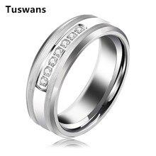 Anillo de tungsteno para hombre y mujer, 8mm, Color plateado, alianzas de boda, brillante, blanco, AAA + zirconia, Anillos de Carburo de Tungsteno, joyería
