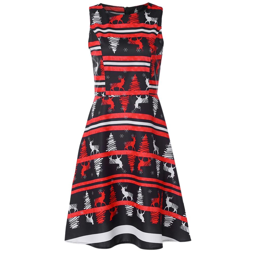 9363920a30 Kenancy Round Collar Sleeveless Stripe Elk Christmas Print Women A-line  Dress Elegant Vintage New